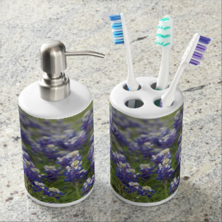 Texas Bluebonnets Soap Dispenser And Toothbrush Holder