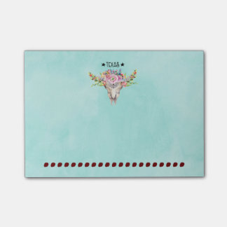 Texas Boho Cow Skull With Flowers Chic Trendy Post-it® Notes