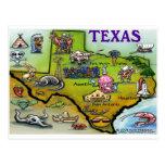 TEXAS Cartoon Map Postcard
