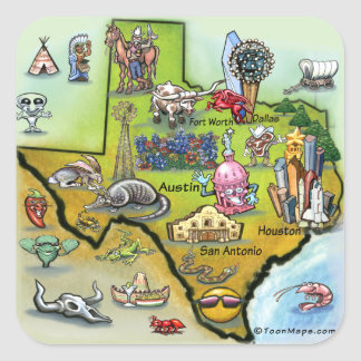 Texas Cartoon Map Square Sticker