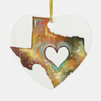 Texas Ceramic Heart Decoration