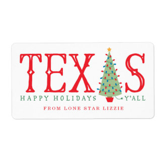 Texas Christmas Tree Happy Holidays Gift Labels