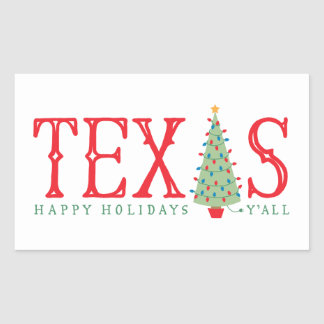 Texas Christmas Tree Happy Holidays Stickers