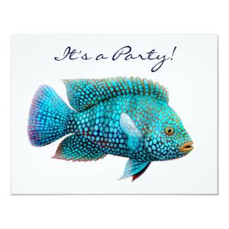 "Texas Cichlid Fish Invitation 4.25"" X 5.5"" Invitation Card"