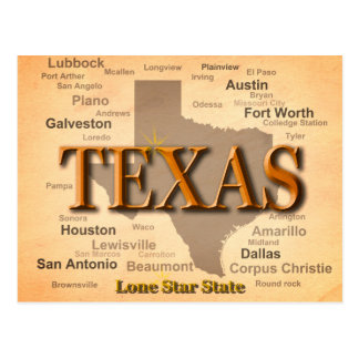 Texas Cities and Towns State Pride Map Postcard