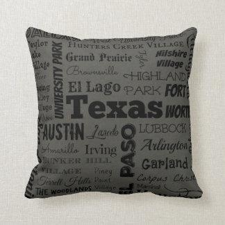 Texas cities pillow in grey/black