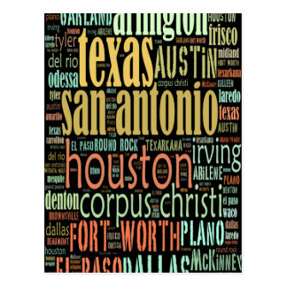Texas Cities Text Collage Postcards