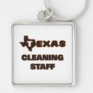 Texas Cleaning Staff Silver-Colored Square Keychain
