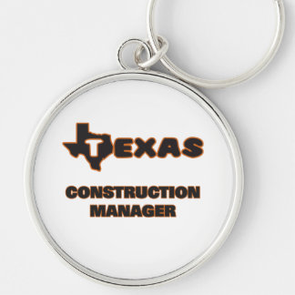 Texas Construction Manager Silver-Colored Round Keychain
