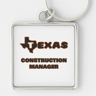 Texas Construction Manager Silver-Colored Square Key Ring