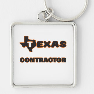 Texas Contractor Silver-Colored Square Key Ring