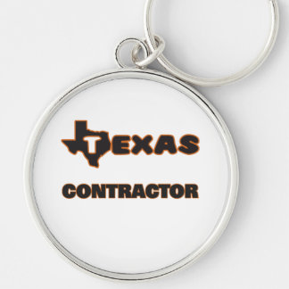 Texas Contractor Silver-Colored Round Key Ring