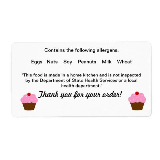 Texas Cottage Food Law Label Shipping Label