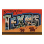 Texas (Cowboy Roping Bull)Large Letter Scenes Posters