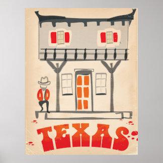 Texas Cowboy Vintage Style travel poster