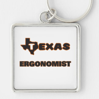 Texas Ergonomist Silver-Colored Square Keychain