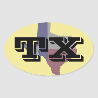 Texas Faded Flag Map Oval Sticker
