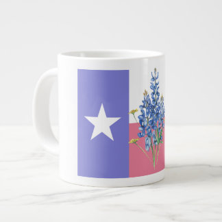 Texas Flag and Bluebonnets Large Coffee Mug