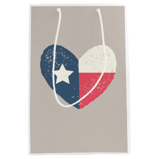 Texas Flag Heart Giftbag Medium Gift Bag