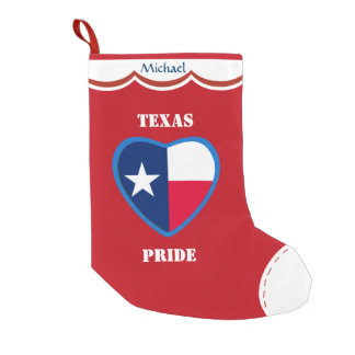 Texas Flag Heart Personalized Small Christmas Stocking
