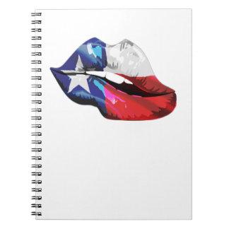 Texas Flag Lips Spiral Notebook