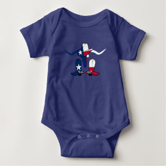 Texas Flag Longhorn Steer With  Boots and Hat Baby Bodysuit