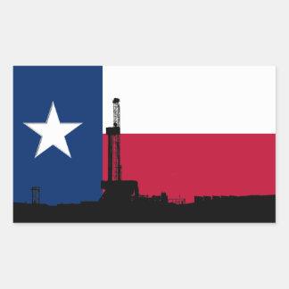 Texas Flag Oil Drilling Rig Rectangular Sticker