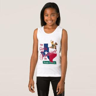 Texas Flag Shape CUSTOM Cowgirl Girls Are Prettier Singlet