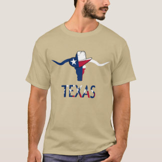 Texas Flag Steer Head With Cowboy Hat  And Letters T-Shirt
