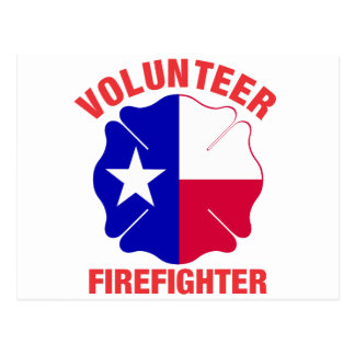 Texas Flag Volunteer Firefighter Cross Postcards