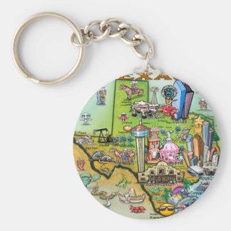 Texas Fun Map Basic Round Button Key Ring
