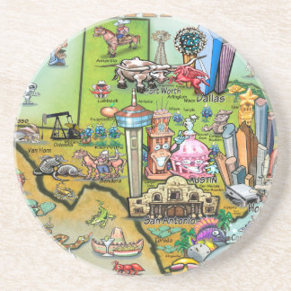 Texas Fun Map Beverage Coasters