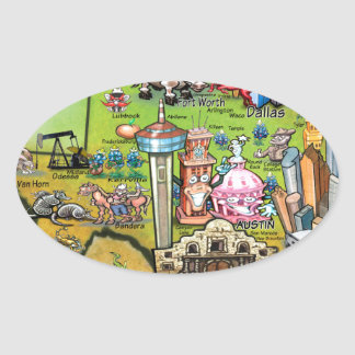 Texas Fun Map Oval Sticker