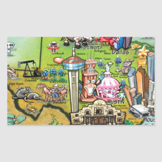 Texas Fun Map Rectangular Sticker