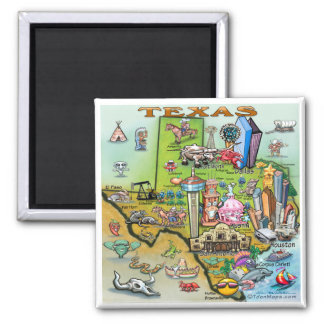 Texas Fun Map Square Magnet