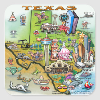 Texas Fun Map Square Sticker