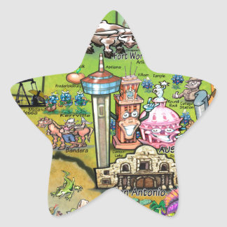 Texas Fun Map Star Sticker