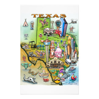 Texas Fun Map Stationery