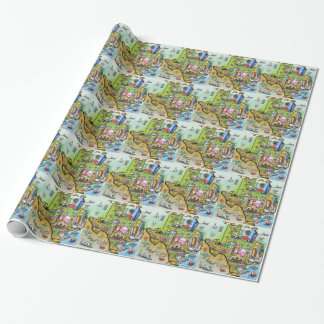 Texas Fun Map Wrapping Paper