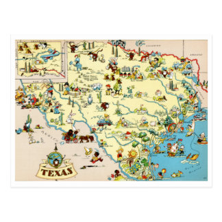 Texas Funny Vintage Map Postcard