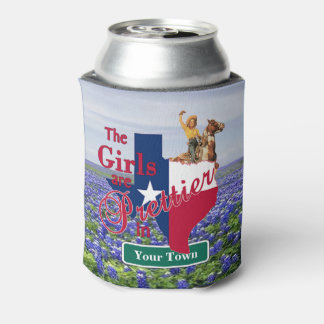 Texas Girls Are Prettier In (CUSTOM NAME) Bluebonn Can Cooler