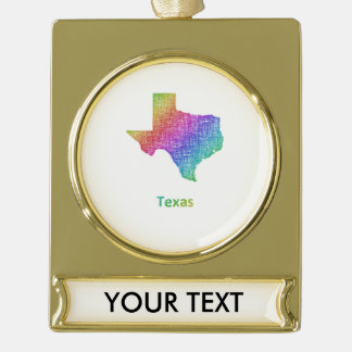 Texas Gold Plated Banner Ornament