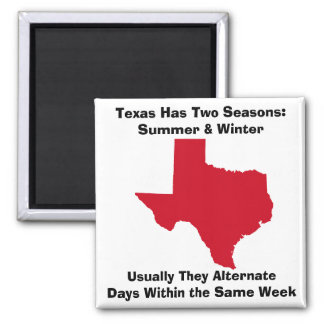 Texas has two seasons - summer and winter square magnet