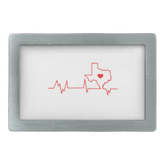 Texas Heart beat Rectangular Belt Buckle
