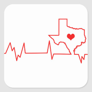 Texas Heart beat Square Sticker