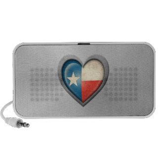 Texas Heart Flag Stainless Steel Effect Laptop Speaker
