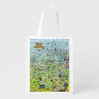 Texas Hill Country 2014 Cartoon Map Reusable Grocery Bag