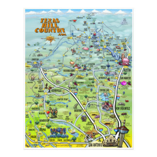Texas Hill Country Cartoon Map Flyer