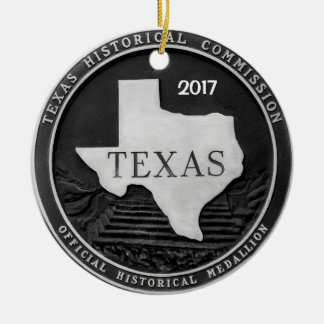 Texas Historical Medallion Ceramic Ornament