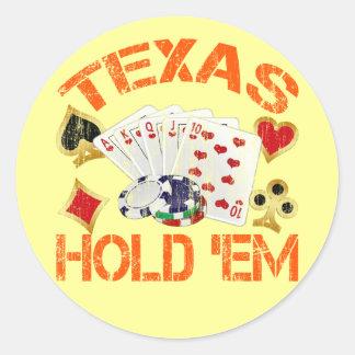 TEXAS HOLD 'EM - DISTRESSED CLASSIC ROUND STICKER